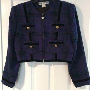 Short Tweed Wool Blend Blazer